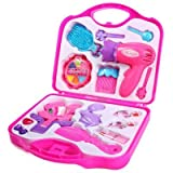 Girls Toy Vanity Role Play Beauty Cosmetic Bag Carry Case Hair Dryer Make Up Gift Set (Randomly Selected from 2 designs) By Guilty Gadgets
