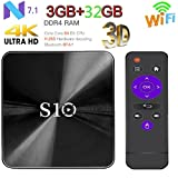 [Android 7.1 OS Smart TV BOX] TV BOX S10 Wifi TV BOX,3GB RAM 32GB ROM HD TV Bluetooth 4.1 Android TV BOX for 4K (3G32G)
