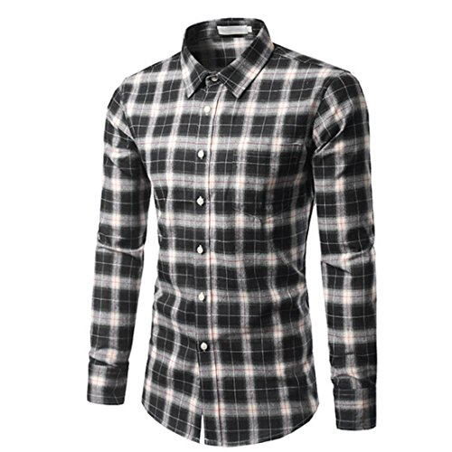 Men's High Quality Turn Down Slim Fit Casual Shirts Black