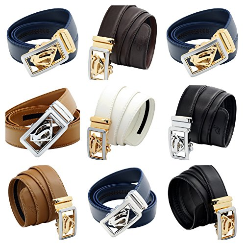 QHA Mens Superman Leather Belt Casual Automatic Buckle EB07