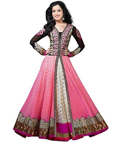 Clickedia Womens Faux Georgette Anarkali Dress Material (Shraddhapink _Pink _Free Size)