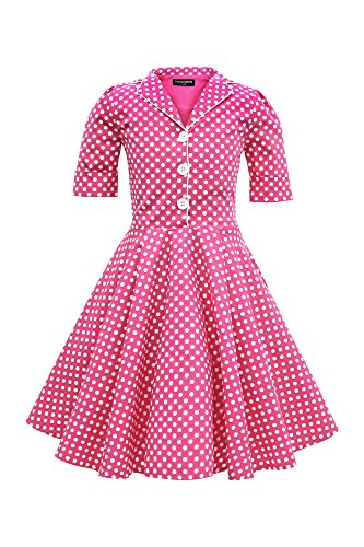 r 'Sabrina' Vintage Polka-Dots Kleid im 50er-J-Stil (Rosa, 13-14 J / 158-164) (Mädchen Rosa Polka-dot-kleid)