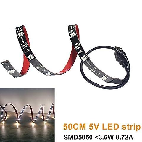 LightingWill 5V USB LED Flex Strip 50cm(20'') Soft Warm White Moodlight Kit in Auto RV with SMD5050 LED for Background Light of TV Desktop Laptop Tablet PC and Undercabinet Lighting in