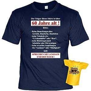 T-Shirt zum 60.Geburtstag + Minishirt Geschenk 60 Set : Der Träger dieses Shirts ist über 60 -- Set Goodman Design® Gr: 3XL Farbe: navy-blau