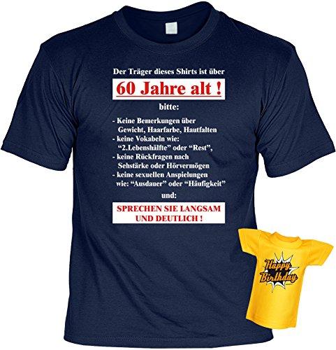 T-Shirt zum 60.Geburtstag + Minishirt Geschenk 60 Set : Der Träger dieses Shirts ist über 60 -- Set Goodman Design® Navy-Blau
