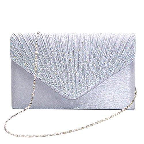 Prokth donna pochette a busta, borsa clutch a busta con strass e raso, borsa da sera