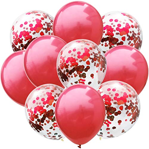 Yalulu 10 Stück Latex Ballons Konfetti Ballon Helium Ballon Party Ballon für Hochzeit Geburtstag Baby-Dusche Party Dekoration (Rot)