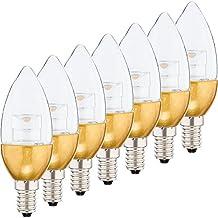 Set de 7 bombillas LED Müller-Licht 400032, E14, 25W, eficiencia energética A+, de plástico, color blanco, 4,5x 4,5x 7,9cm, plástico, dorado, E14, 4.5 wattsW, 230 voltsV