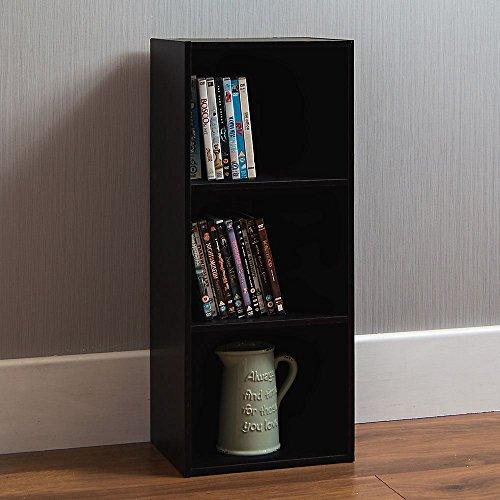 Home discount oxford libreria cubo a 3, display scaffali in legno nero, cassettiera ufficio salotto