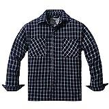 WenVen Camicia Button-Down con Fodera Termica in Flanella a Quadri Uomo Blu e Bianco M