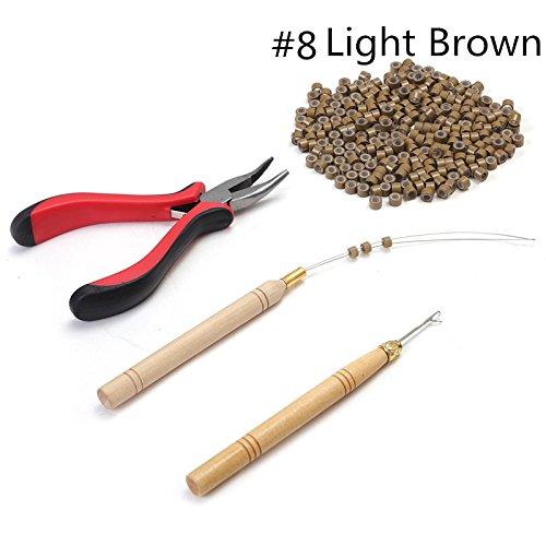 Set per rimuovere extension di capelli con 1 pinza 1 uncino per tirare kit di attrezzi per perline e 200 micro anelli