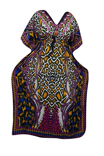 Indiatrendzs Women's Long Printed Boho Kaftan Dress With Dori At Waist  available at amazon for Rs.386