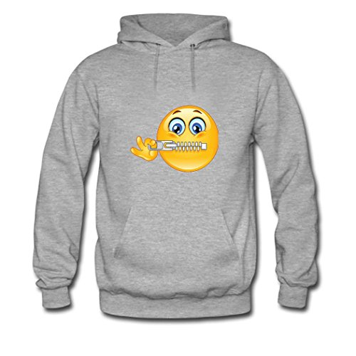 HGLee Printed DIY Custom Emoji Stickers Women's Hoodie Hooded Sweatshirt Gray--2