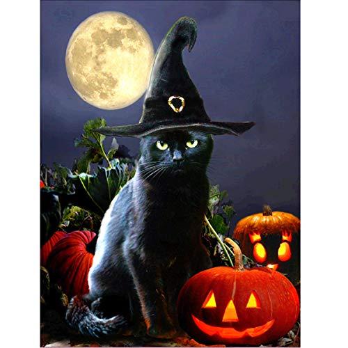 lerei Voll Runde Bohrer Kits F¨¹r Erwachsene Eingelegt Stickerei Kreuzstich Kunst Handwerk f¨¹r Hauptwanddekor Halloween Katze 12x16in ()