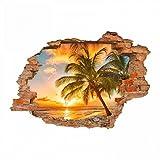 nikima - 094 Wandtattoo Paradies Sonnenuntergang Strand Palmen - Loch in der Wand - in 6 Größen - Wunderschöne Kinderzimmer Sticker und Aufkleber Bezaubernde Wanddeko Wandbild Junge Mädchen Größe 500 x 350 mm