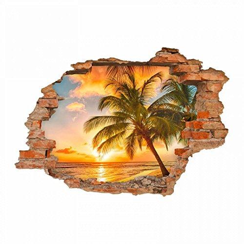 nikima - 094 Wandtattoo Paradies Sonnenuntergang Strand Palmen - Loch in der Wand - in 6 Größen - Wunderschöne Kinderzimmer Sticker und Aufkleber Bezaubernde Wanddeko Wandbild Junge Mädchen Größe 1250 x 870 mm