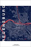 Poster 20 x 30 cm: Regensburg Karte Mitternacht von Campus