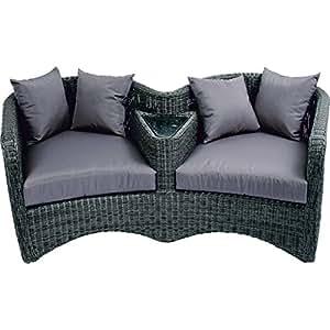 Love Seat–poltrona struttura in alluminio con tortora–farbenem rundgefl vera e cuscino grigio