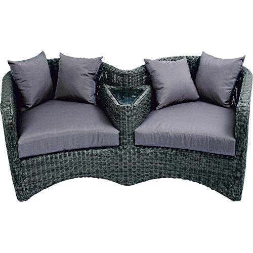 Loveseat Sessel Alu-Gestell mit taupe - farbenem Rundgeflecht und grauen Kissen