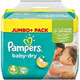 Pampers Baby Dry Taille 4 Maxi 7-18kg Jumbo Pack Plus (1 x 78 couches)
