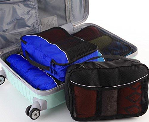Packwürfel Kleidertaschen Packing cubes Koffertaschen für angenehmes Reisen und aufgeräumte Koffer -Große und mittelgroße Taschen zum Schutz und zur Komprimierung von vielen Kleidungsstücken, Schuhen  Med-DeepBlue