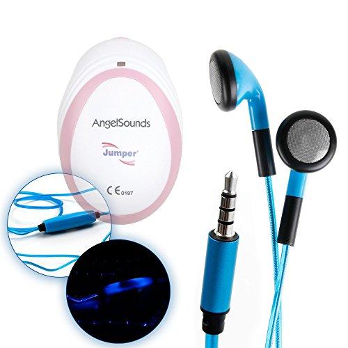 Duragadget Ecouteurs LED Bleus pour Doppler foetal AngelSounds, Bebelol, Sonoline & WINGONEER JT-S06 - luminescents + Micro intégré