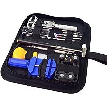 SUMERSHA Kit professionale di strumenti per la riparazione di orologi, all'interno di un astuccio, articolo per orologiai, composto da 13 pezzi