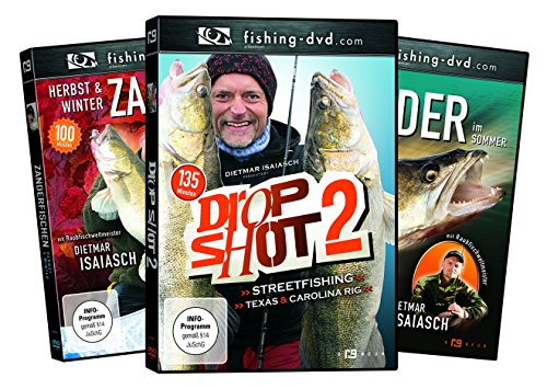 3 Dietmar Isaiasch DVDs -Zander im Sommer, Herbst,Winter + Drop Shot 2 - Winter Zander