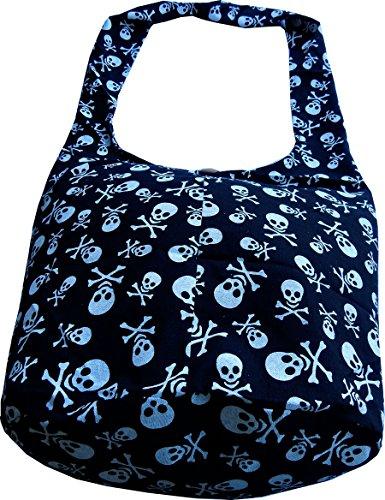 Stoff Handtasche Muster (Handgefertigte Beuteltasche aus Baumwolle mit Totenkopf Muster von Ariyas Thaishop)