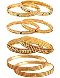 Jewels Galaxy Limited Edition Red-Green Ruby & Magnificent Gold Plated Bangles Set Combo For Women/Girls - Pair...