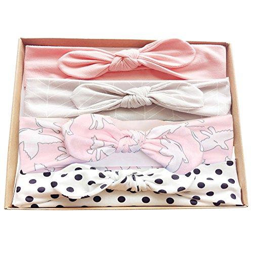 Vellette Baby Mädchen Stirnbänder verknotete Baby Stirnbander Baby Top Knot Madchen Turban Headwrap Knot Stirnband Kleinkind Stirnband Vor Ort Kaninchenohren Knit 3 Stück (one Size, B (4Pcs))
