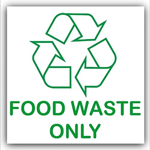 Food Waste Only-Recycling Bin Adhesive Sticker-Recycle Logo Sign-Environment Label