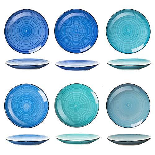 Den Blauen Teller (esto24 Design 6er Set große Speiseteller Porzellan Geschirr in tollen Farben für Ihre liebsten Speisen(Teller Blau Töne))