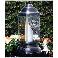 Grab lámpara con ángel Ornament Plata 34,0cm Grab Vela Tumba luz ♥ Farol Grab joyas Corazón Rose Grab lámpara Cementerio Tumba luz