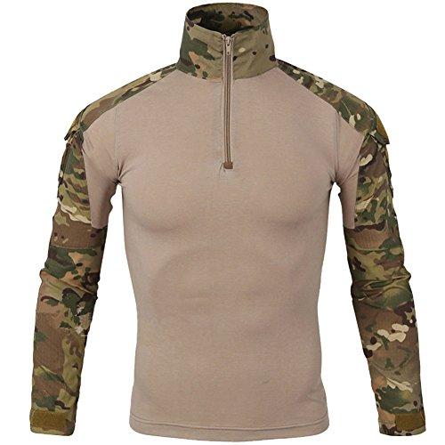 FY Taktisches Hemd Männer Militär Airsoft BDU Hemd Kampf Taktisches Langarm Jagdhemd Multicam,M (Bdu Braun Shirt)