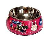 JinZhiCheng Zart Cartoon-Kaninchen-Edelstahl-Hundenapf Anti-Rutsch-Pet Bowl (Pink L)