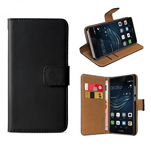 eFabrik Hülle für Huawei P9 Plus Tasche Bookstyle Case Slim Design Cover Schutzhülle schwarz