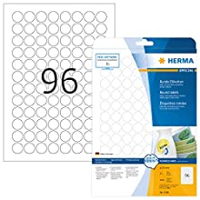 HERMA Self Adhesive Removable Multi-Purpose Labels, 96 Labels Per A4 Sheet, 2400 Labels For Printers, Round, Ø 20 mm (4386), White