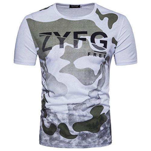 Sport Shirt Herren Kanpola Sommer Basic Sweatshirt Slim Fit Kurzarm Tee Fitness Bluse (P-Weiß, L)