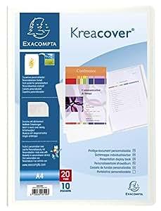 Exacompta Kreacover 58109E Porte-vues rigide A4 20 vues,10 poches Blanc