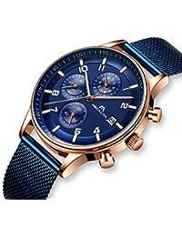 Reloj Hombres Relojes de Pulsera Militar Deportivo Impermeable Cronógrafo Azul Luminosos Relojes de Acero Inoxidable Malla Lujo Calendario Analógico