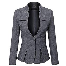 YYNUDA Damen Slim Fit Blazer Elegant Anzugjacke mit EIN Knopf Kurz für Office Business