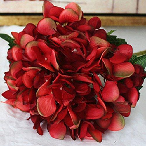 Babysbreath Silk Artificial Hydrangea Flor Bouquet Arreglo Inicio Decoración de Navidad de la boda vino rojo