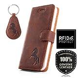 APPLE iPhone 6 / 6s - Pferd - RFID Premium Ledertasche Schutzhülle Wallet Case aus Echtesleder mit Kreditkarten / Notizen Fachern Farbe Nussbraun von Surazo® Nubuk Kollektion Apple iPhone 6 / 6s