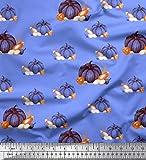 Soimoi Blau Viskose Chiffon Stoff gemischt Gemuse gedruckt