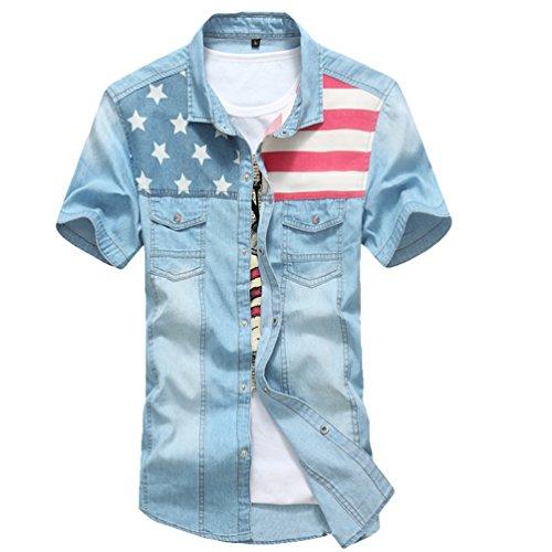 Dooxi uomo slim fit casual camicie estate manica corta camicia di jeans azzurro 3xl
