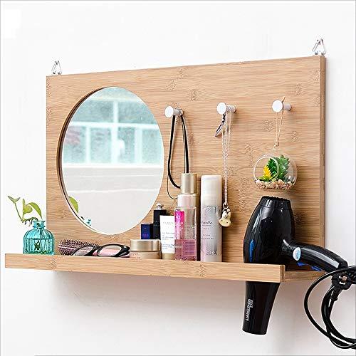 Badezimmer-eitelkeit-wand-spiegel (MEI XU Wand-Wand Wand-hölzerne Wand-hängende Multifunktions-hängenden Zahnstangen Hauptschlafzimmer-Badezimmer-Eitelkeits-Spiegel-Wand-Verfassungs-Spiegel-Bambus Regal (Color : Solid Wood Color))