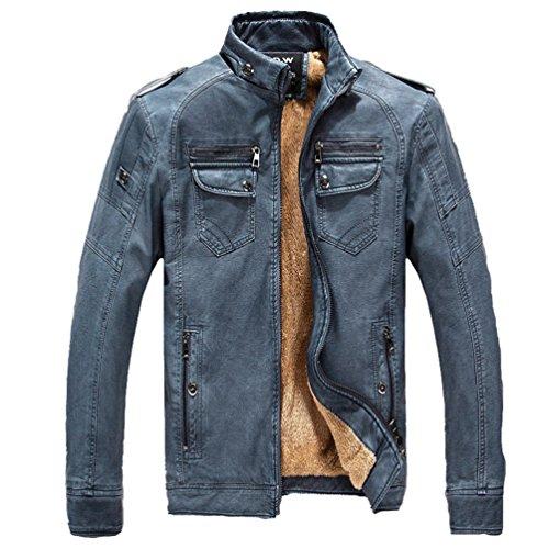 ZKOO Hombre Vellón Forrado Chaqueta De Cuero De Imitación Corta Moto Jacket Cazadora Abrigo Ajustado Caliente Otoño e Invierno Azul