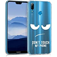 kwmobile Hülle für Huawei P20 Lite - TPU Silikon Backcover Case Handy Schutzhülle - Cover klar Don't touch my Phone Design Weiß Transparent