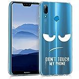 kwmobile Funda para Huawei P20 Lite - Carcasa de [TPU] para móvil y diseño Don't Touch my Phone en [Blanco Transparente]